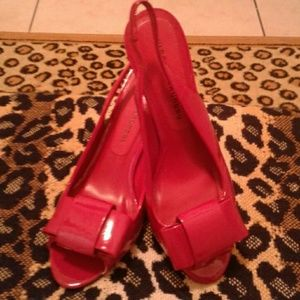 Red patent faux leather peep toe slingback heels